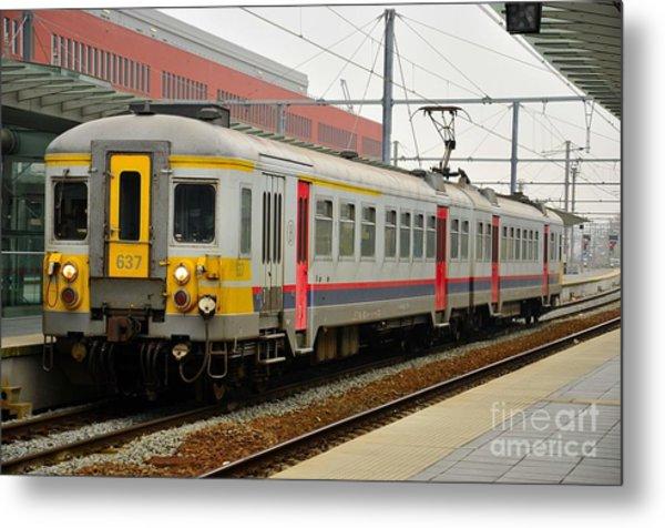 Belgium Railways Commuter Train At Brugge Railway Station Metal Print