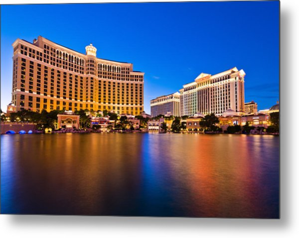 Bellagio And Caesars Metal Print