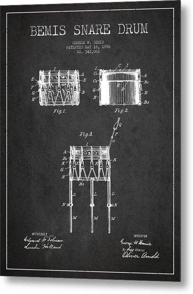 Bemis Snare Drum Patent Drawing From 1886 - Dark Metal Print