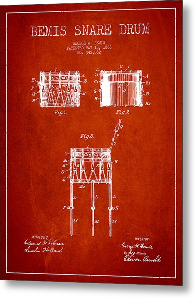 Bemis Snare Drum Patent Drawing From 1886 - Red Metal Print