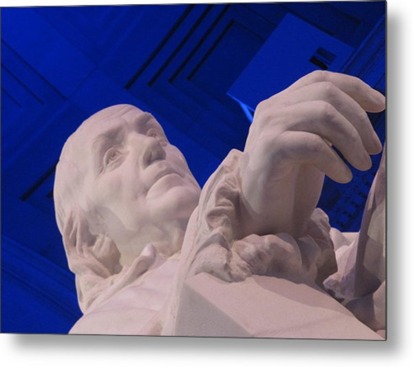Ben Franklin In Blue I Metal Print