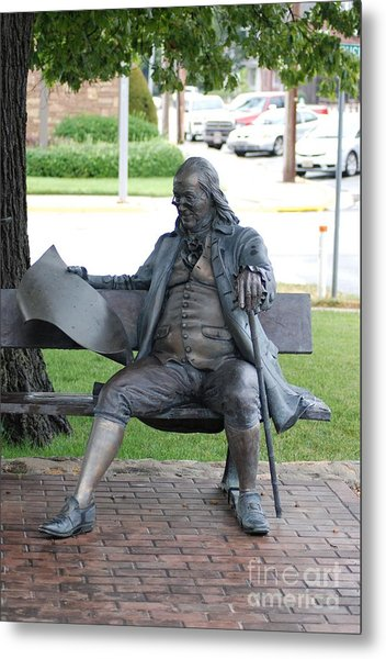 Ben Franklin Statue Metal Print