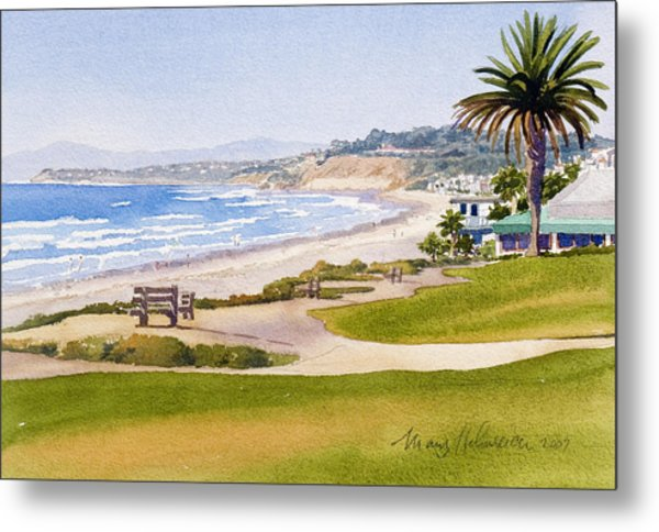 Bench At Powerhouse Beach Del Mar Metal Print