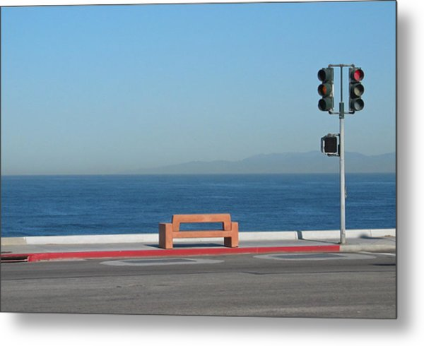 Bench By The Sea Metal Print
