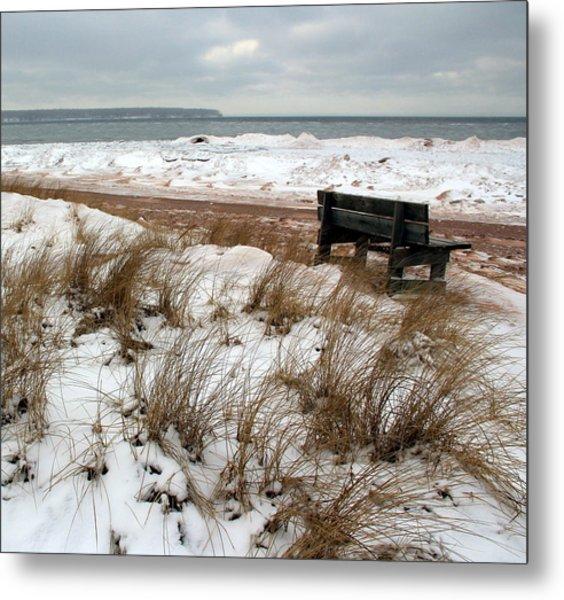 Bench In Winter Metal Print
