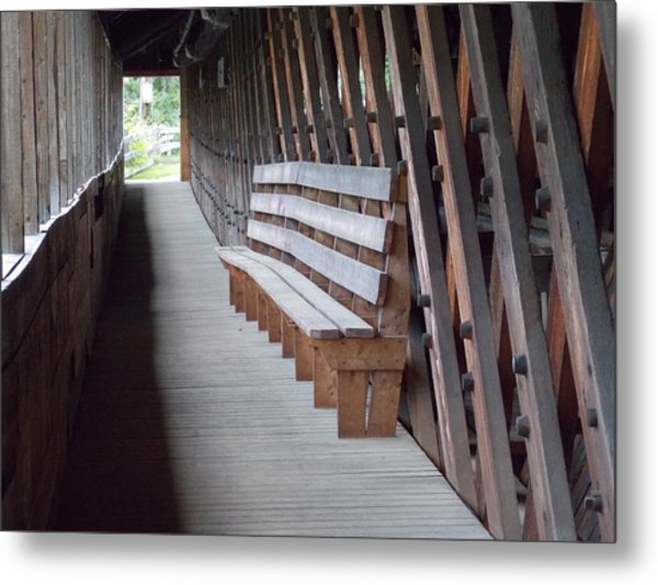 Bench Inside A Covered Bridge Metal Print