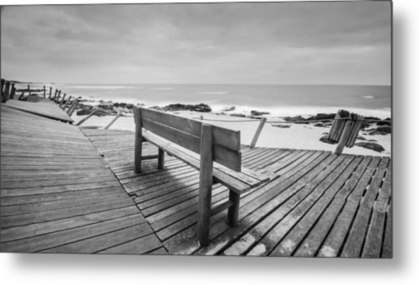 Bench With Swirl Metal Print