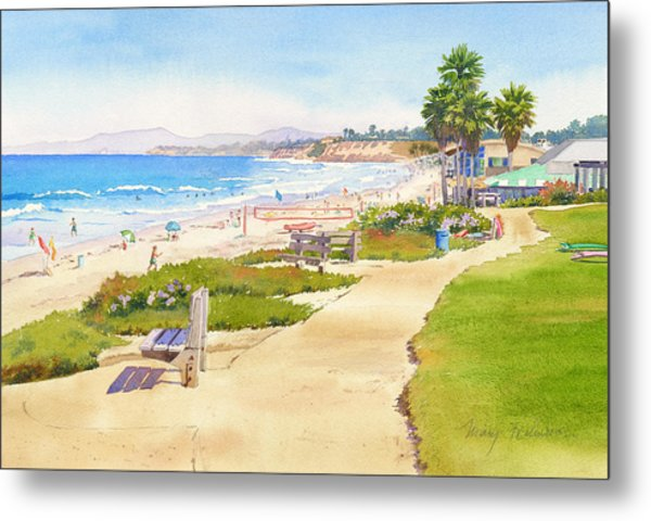 Benches At Powerhouse Beach Del Mar Metal Print