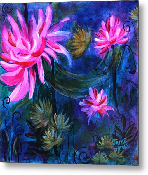 Beneath Dark Lotus Waters Metal Print