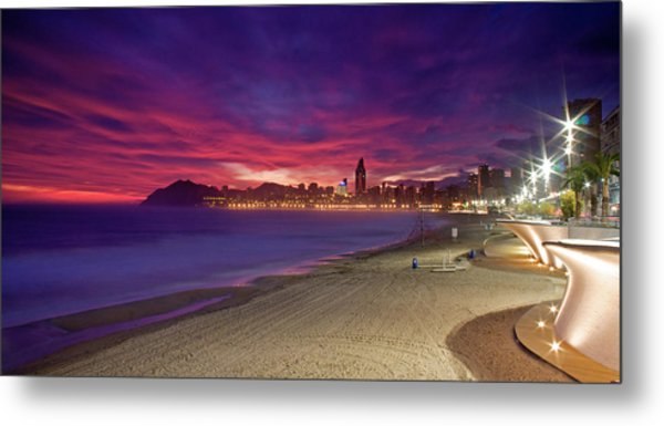Benidorm At Sunset Metal Print by Michael Underhill