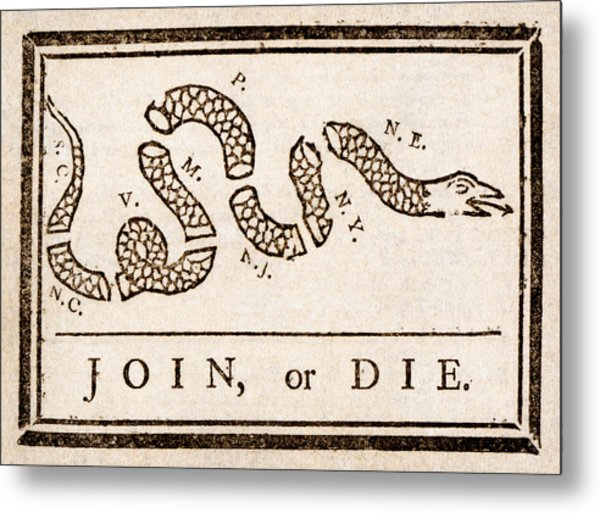 Metal Print featuring the painting Benjamin Franklin's Join Or Die Cartoon by Benjamin Franklin