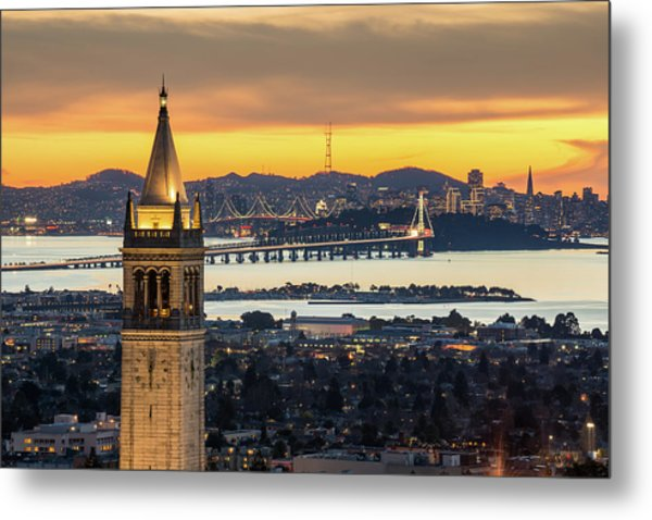 Berkeley Campanile With Bay Bridge And Metal Print by Chao Photography