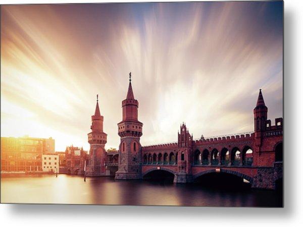 Berlin Oberbaum Bridge With Dramatic Sky Metal Print by Spreephoto.de