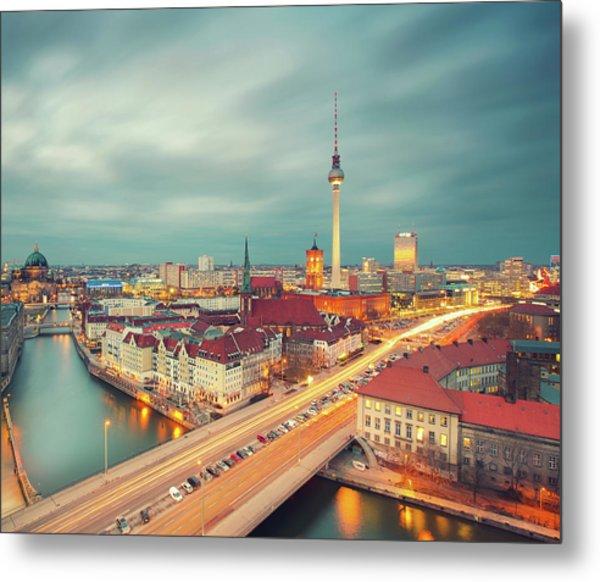 Berlin Skyline With Traffic Metal Print by Matthias Makarinus