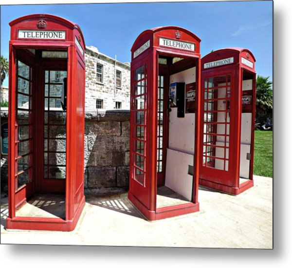 Bermuda Phone Boxes 2 Metal Print
