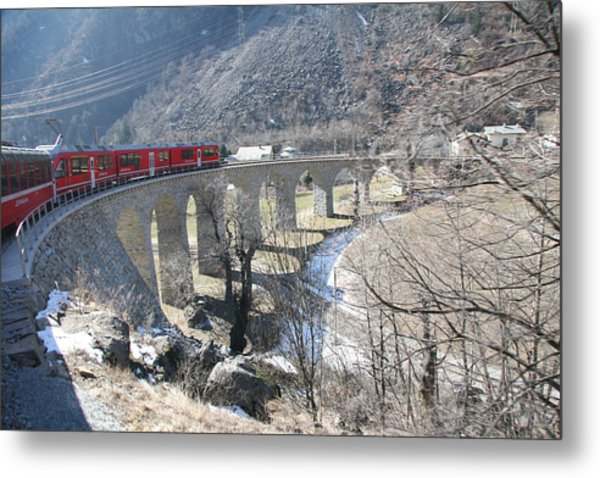 Bernina Express In Winter Metal Print