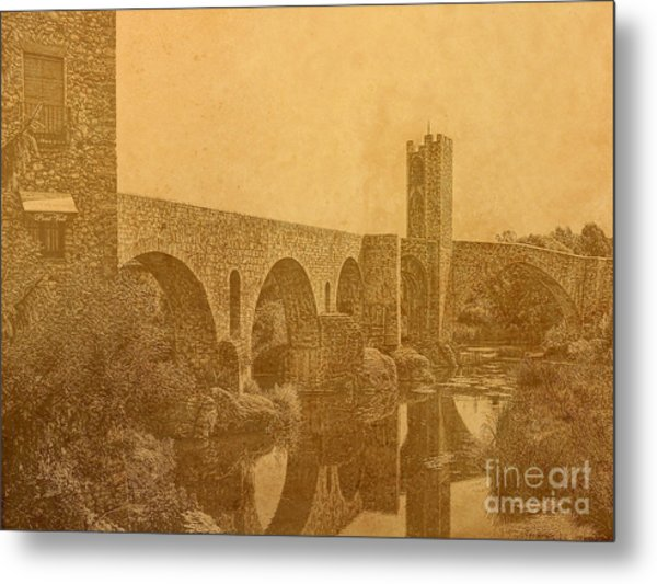 Besalu Bridge Metal Print
