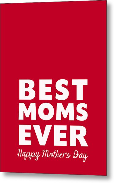 Best Moms Card- Red- Two Moms Mother's Day Card Metal Print
