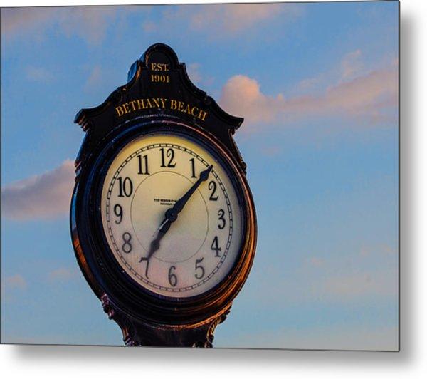 Bethany Beach Clock Metal Print