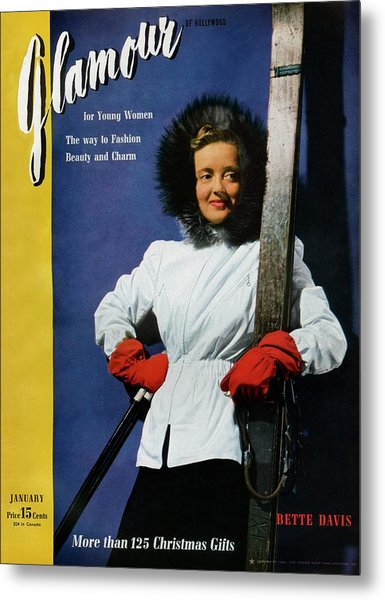 Bette Davis On The Cover Of Glamour Metal Print by John Rawlings