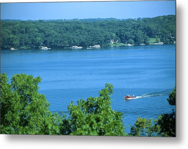Between Green Shores - Lake Geneva Wisconsin Metal Print