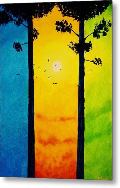 Between The Pines Metal Print by Kyle  Brock