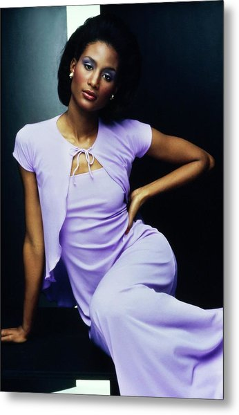 Beverly Johnson Wearing A Purple Nightgown Metal Print