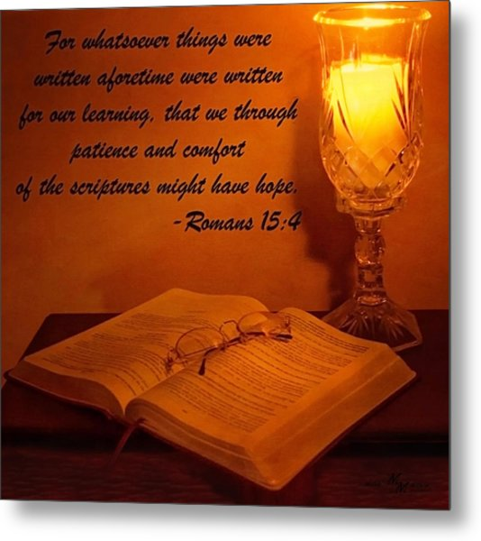 Bible By Candlelight Metal Print