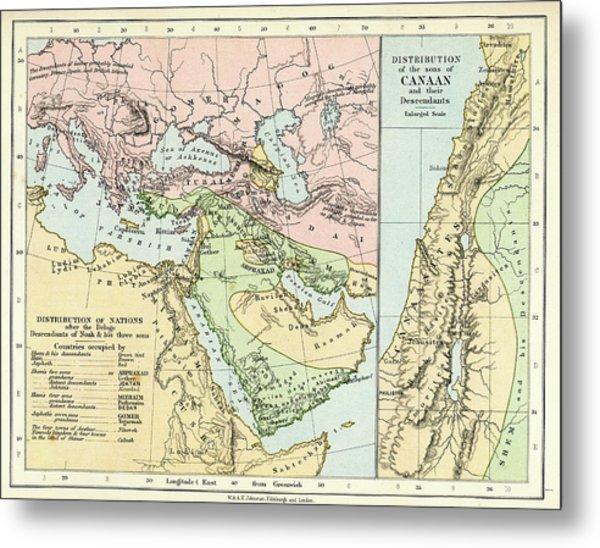 Biblical Map Metal Print
