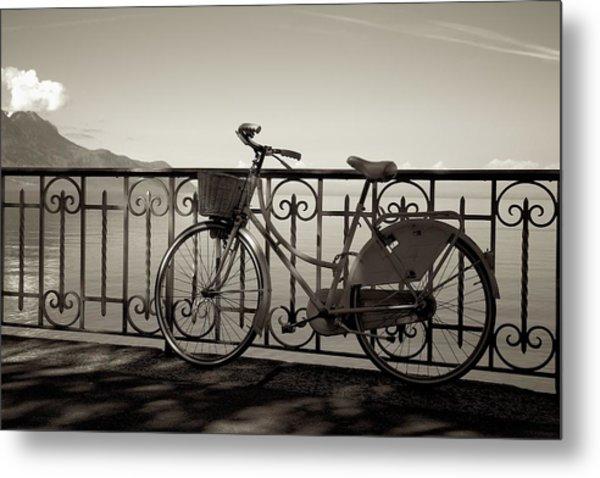 Bicycle Basket Fence Metal Print