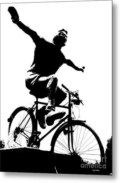 Bicycle - Black And White Pixels Metal Print