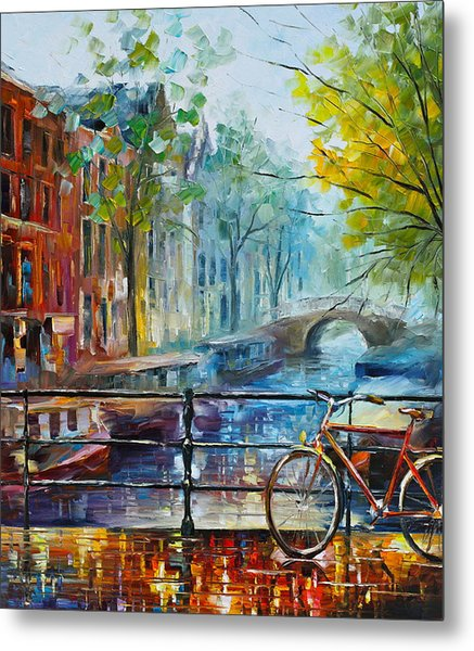 Bicycle In Amsterdam Metal Print