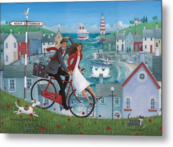 Bicycle Seascape Metal Print