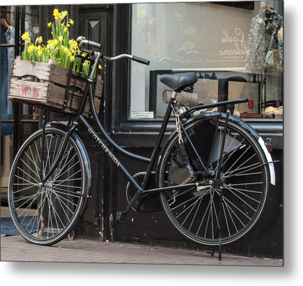 Bicycle With Flowers #1 Metal Print