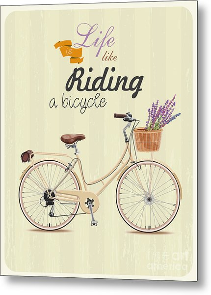 Bicycle With Lavender In Basket. Poster Metal Print