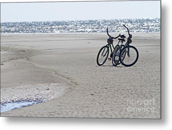 Bicycles On The Beach Metal Print