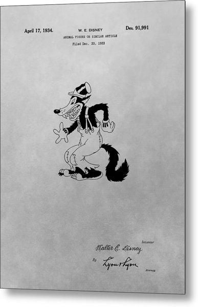 Big Bad Wolf Disney Patent Drawing Metal Print