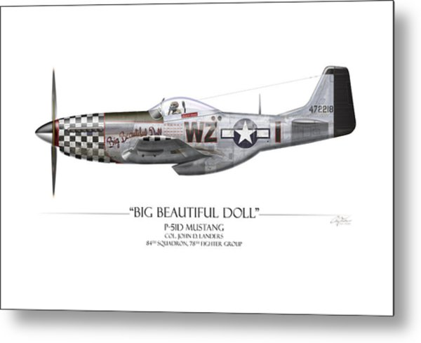 Big Beautiful Doll P-51d Mustang - White Background Metal Print