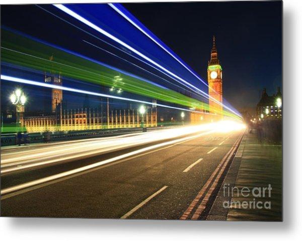 Big Ben And A Bus Metal Print
