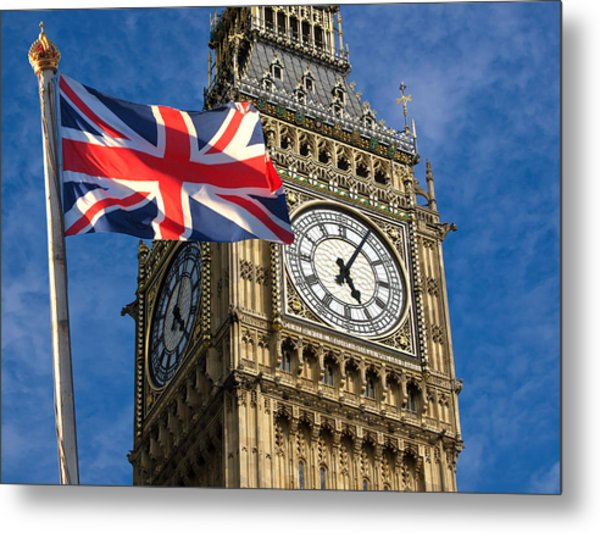 Big Ben And Union Jack Metal Print by Neven Milinkovic