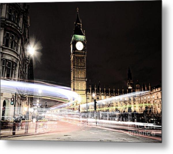 Big Ben With Light Trails Metal Print