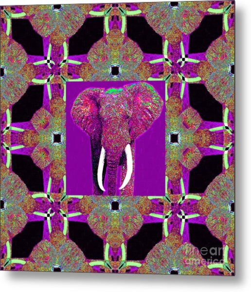 Big Elephant Abstract Window 20130201m68 Metal Print by Wingsdomain Art and Photography