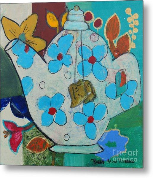 Big Floral Tea Pot Metal Print