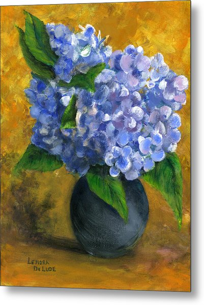 Big Hydrangeas In Little Black Vase Metal Print