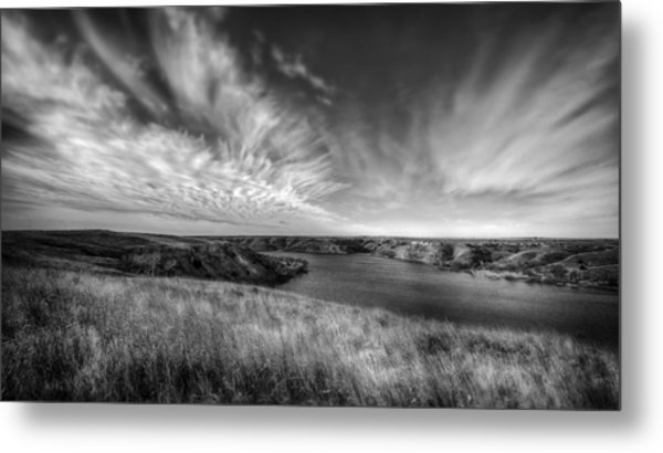 Big Sky Country In Black And White Metal Print