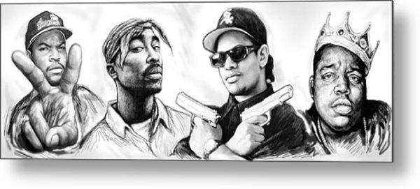 Biggie With Rap Art Drawing Poster Metal Print