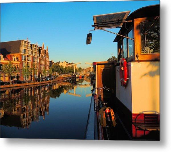Bike And Barge Metal Print