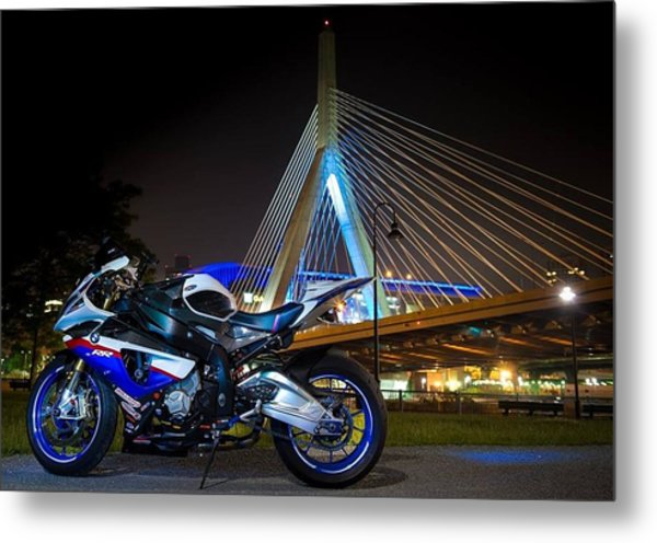 Bike And Bridge Metal Print