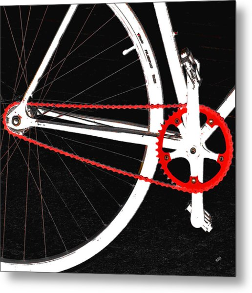 Bike In Black White And Red No 2 Metal Print