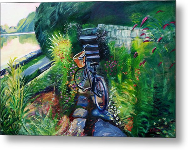 Bike In The Butterfly Garden Metal Print by Colleen Proppe